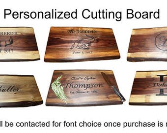 Engraved Cutting Board, Rustic Cutting Board, Walnut Cutting Board, Personalized Cutting Board, Cutting Board