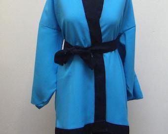 Top turquoise & Black kimono with belt