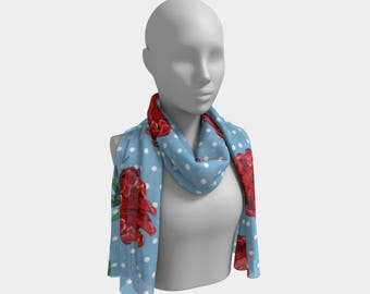 "45""x10"" - Beautiful Australian Native Floral Print - Gorgeous Protea and Polka Dots - Cute Long Scarf"
