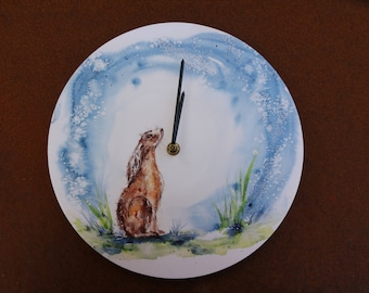Moongazing hare clock - print from original water colour painting