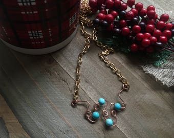 Turquoise Twisted Elegant Chain Necklace