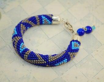 Valentine gift for her girlfriend bridesmaid valentine's bracelet bead crochet rope beaded jewelry beads gift handmade for her beaded bead