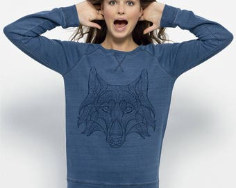 Sweat-shirt bio Femme coton équitable  Bleu Denim  Jean - Loup imprimé - 36 bis Trips Denim