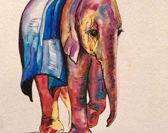 Elephant Original Watercolor Painting