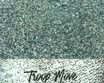 Troop Move, Green Glitter Pigment, 10 gram jar, Mineral Eyeshadow Pigment, Lace
