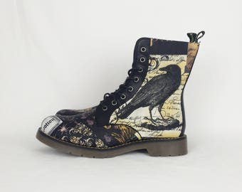 Crow shoes, raven shoes, alternative fashion, women shoes, nevermore, skulls shoes, steampunk shoes, gothic, gift for her, vegan leather