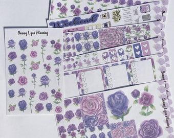 Purple Roses Weekly Kit/A La Carte - EC Vertical/EC Horizontal/Happy Planner