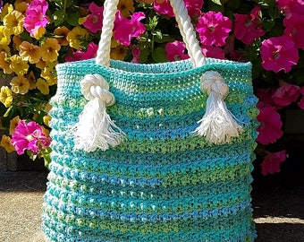 Crochet Blue Ocean Breeze Summer Beach Bag Pattern DIGITAL DOWNLOAD ONLY