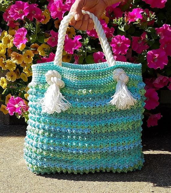 Instant Ocean Bag : Crochet blue ocean breeze summer beach bag pattern digital