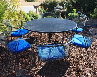 Vintage Woodard Collection Wrought Iron Patio Set, Round Table U0026 6  Armchairs With Cushions, Part 49