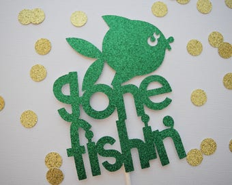 Fishing Cake Topper, Gone Fishin Cake Topper, Fishing Theme Birthday, Fishing Party Decor, 1st Birthday Decor, Birthday Party Decor