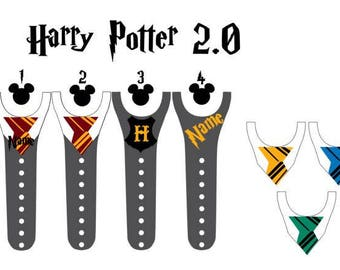 IMPROVED Magic Band 2.0 Decals, Harry Potter, Gryffindor, Hogwarts, hermione, ron, Slytherin, Ravenclaw, Hufflepuff, personalized band