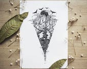 Flashlight   Pen drawing, Landscape, Outdoors, Galaxy, Moon, Sun, Nature, Whale   A4 size Print