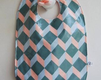 Laminated cotton geometric, reversible cotton bib pink Terry