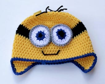 Minion hat (infant/toddler age 12-24 months) with earflaps
