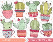 Kawaii Cactus Clipart Set, Cactus Illustration Set, Cute Succulent Designs, Cactus in Teacups Clip Art, Potted Plants, Commercial Use
