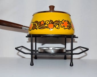 Vintage 70's fondue set Geel Oranje Bruin
