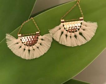 Cream and gold tassle earrings  boho