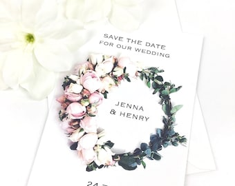 Personalised floral wreath wedding save the date postcards