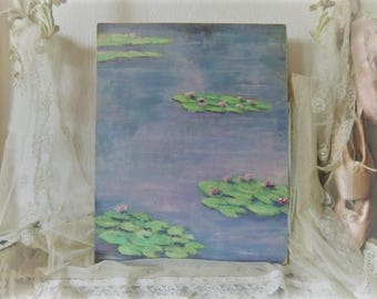 Vintage oil of image of lily pond bohemian boudoir shabby chic