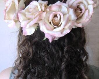 Romantic roses silk flowers flower wreath WATC shabby vintage look