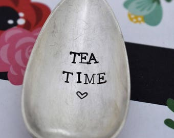 "Vintage Hand Stamped Teaspoon ""Tea Time"" *Unique Gift*Funny Gift*Tea Drinker*Personalized Gift*Stamped Teaspoon*Tea Lover*"