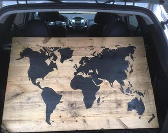 Wold map on barn wood