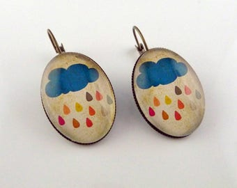 Earrings bronze cloud rain