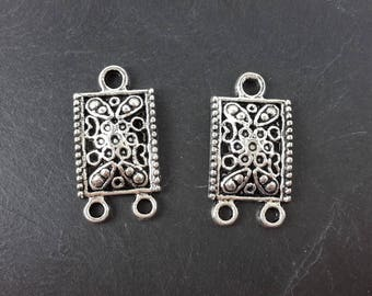Ethnic chandelier earring, rectangle and flowers, silver, 24 x 12.5 mm