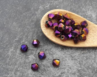 Bicone beads glass beads faceted 4 mm purple metal beads