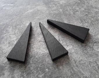 2 pcs pendants triangle black ethnic geometric wooden minimalist, 40 x 14 mm