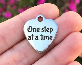 Motivational Stainless Steel Charm - One Step At A Time - Laser Engraved - Silver Heart - 19mm x 22mm - Quantity Options - F4L442