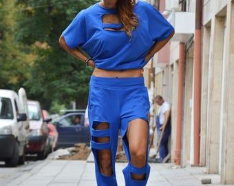 Loose Fit Pants, Blue Extravagant Design Sport Pants, Oversize Wadding Pants, Maxi Fashion Pants by SSDfashion