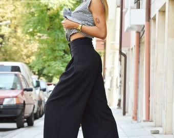 New Black High Waist Pants, Extravagant Loose Pants, Oversize Skirt Pants, Maxi Trousers HandMade by SSDfashion