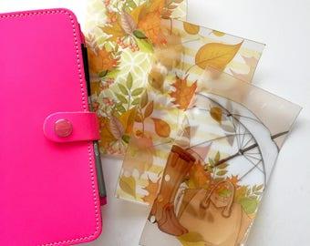 Hello Autumn Personal Size Ring Bound Planner Vellum Dashboards - Set of 3