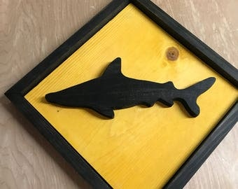 Shark Crossing Wood Sign