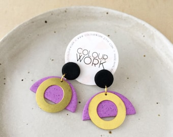Brass Ring Earrings - Jet Black & Speckled Violet with a Brass Circle Ring.