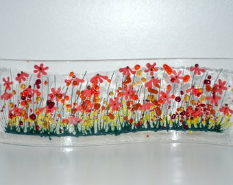 Handmade Fused Glass Art- Gerbera Wave