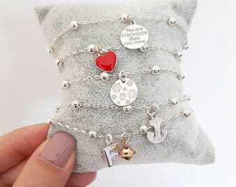 Bracelet with silver chain 925 with fixed spheres and pendant of choice between heart, anchor, tag, initial, etc