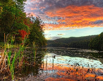 Sunrise Photo, Lake Photography, Adirondack Sunrise Photography, Adirondack Mountains, Landscape Photograph, Lake Photo, Adirondack Fine Art