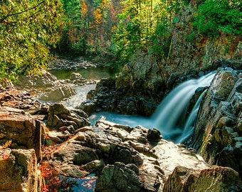 Adirondack Waterfall, Split Rock Falls, Boquet River, Landscape Print, Fine Art Decor, Nature Photo, Wall Art,Adirondack Print,Waterfall Art
