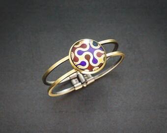 bracelet bronze jonc et cabochon