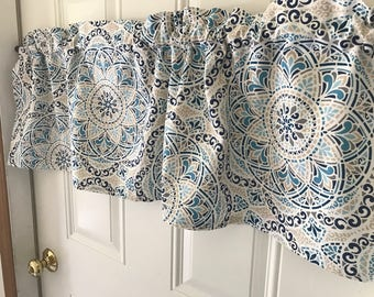 Blue and Tan on white circles Curtain Valance