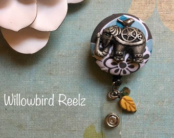 Elephant and her Sparrow-Nurse Retractable ID Badge Reel/ RN Badge Holder/Doctor Badge Reel/Nurse Badge Holder/Nursing Student Gifts