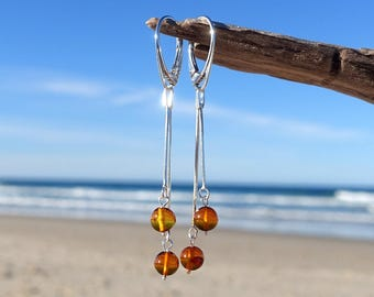 Long Earrings, Baltic Amber Sterling Silver Long Chain Dangle Earrings, Amber Jewelry, Dangle And Drop Earrings, Amber Jewelry