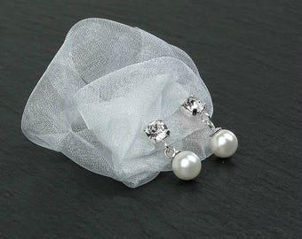 KIM Earrings sterling silver, Swarovski crystals, Swarovski pearls