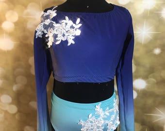 custom ombre contemporary costume, ombre dancewear, quick ship dancewear, quick ship contemporary costume , modern dance costume
