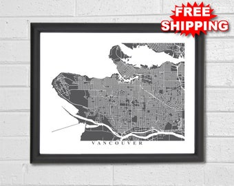 Vancouver Streets Map Art - Map Print - Customized Map - Vancouver Map - Vancouver British Columbia -Vancouver - Canada - City Collection