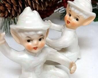 Vintage Porcelain Elves Candle Huggers