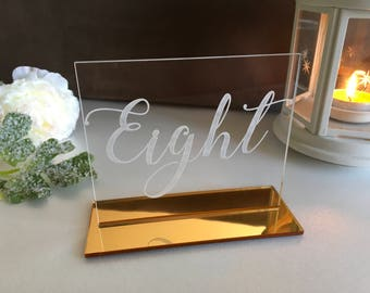 Acrylic Clear Wedding Table Numbers, Etched Table Numbers, Custom Acrylic Table Numbers Acrylic Wedding Signs Laser Cut Etched Table Numbers